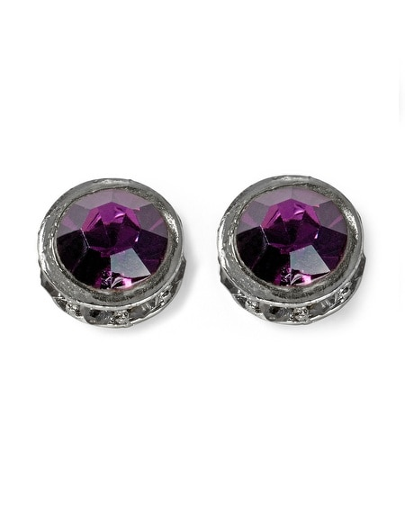 Imperial Purple Crystal/Pave Stud Earring