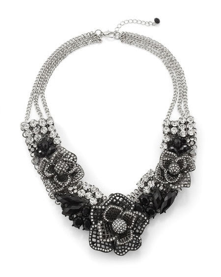 Jet/Crystal Flower Statement Necklace