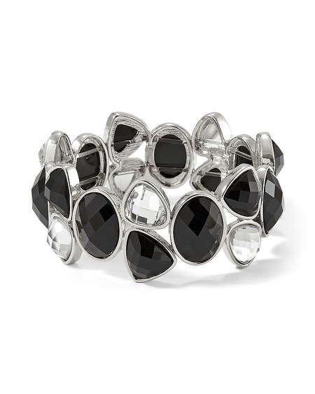 Jet Crystal Stone Stretch Bracelet