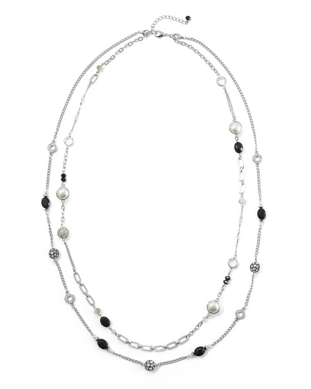 Jet/Pearl Fireball Convertible Necklace