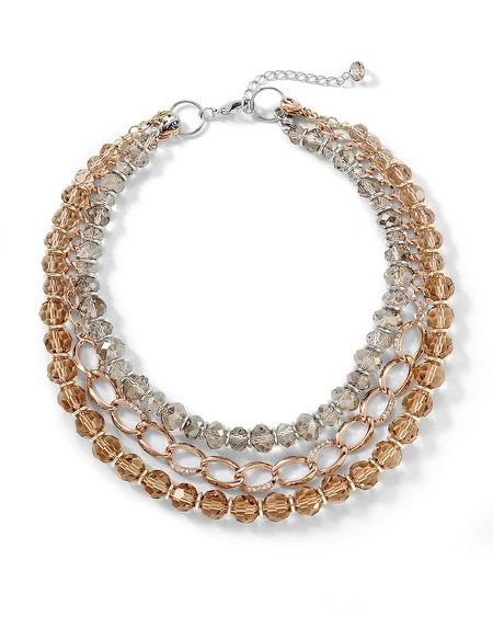 Rose Goldtone/Crystal Convertible Necklace