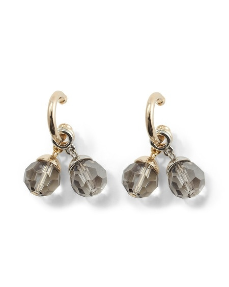 Gray/Champagne Crystal Convertible  Earring Set