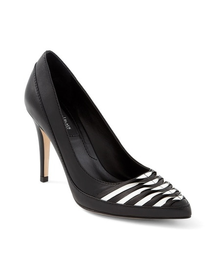 Leather Hi-Contrast Woven Pumps
