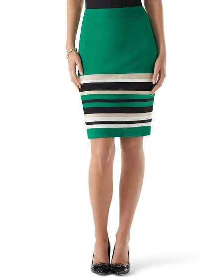 Pieced Stripe Ponte Skirt