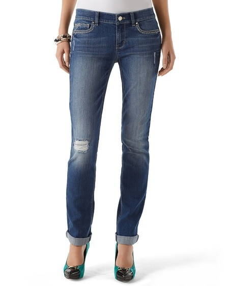 Distressed Slim Ankle Jean