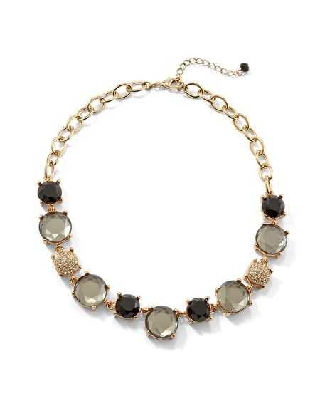 Gray/Pave Crystal Necklace