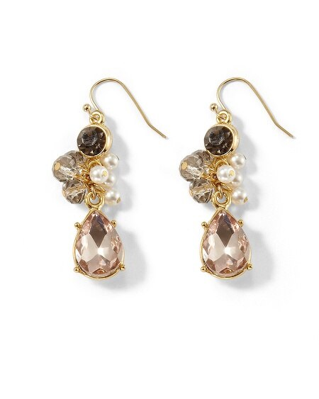 Goldtone Gray/Blush Crystal Earring