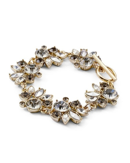 Goldtone Gray Crystal Bracelet