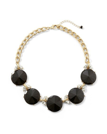 Jet Faceted Circle Statement Necklace