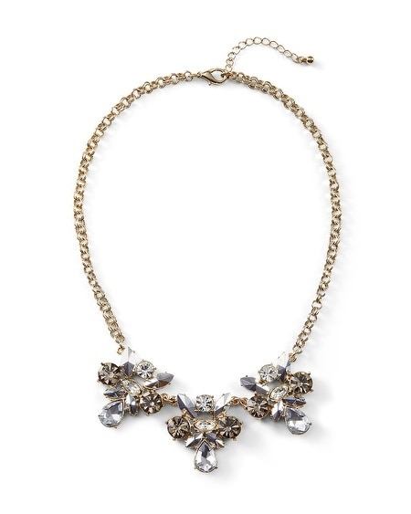 Goldtone Gray Crystal Statement Necklace