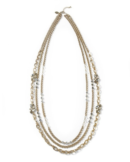 Convertible Goldtone/Gray Crystal Necklace