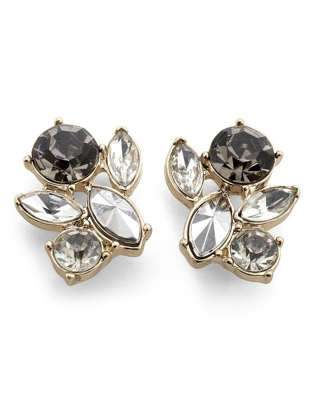 Goldtone Gray Crystal Earring