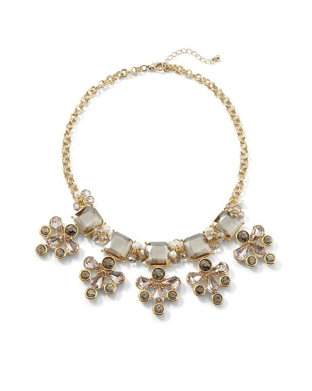 Goldtone Gray/Blush Flower Statement Necklace