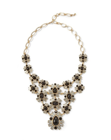 Jet & Crystal Baguette Bib Necklace