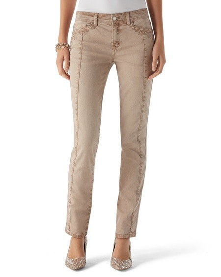 Blanc Embroidered Slim Jean