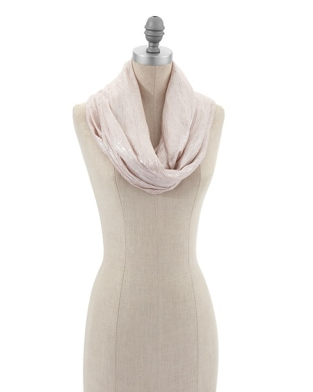 Rose-Silver Crinkle Infinity Scarf
