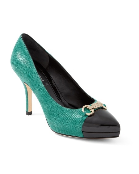 Green Mid Heel With Goldtone Detail