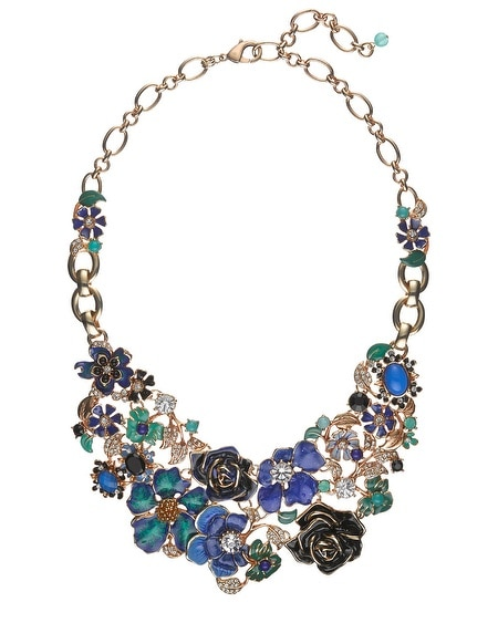 Green/Blue Flower Statement Necklace