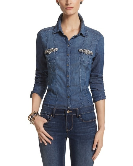 Jeweled Denim Shirt