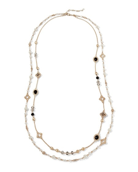Jet/Pearl Stationed Convertible Necklace