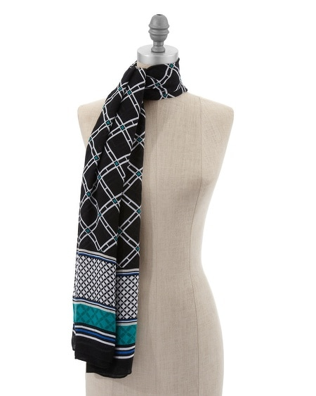 Lattice Print Oblong Scarf