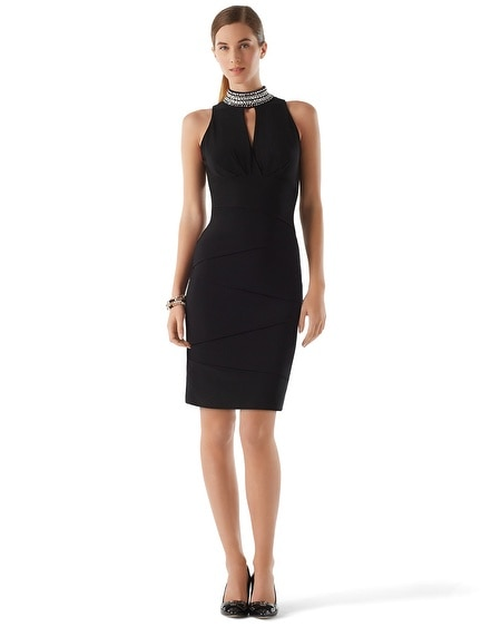 Jeweled Mockneck Instantly Slimming Dress