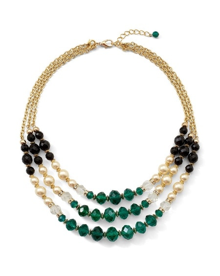 Green Colorblock Multi Row Convertible Necklace