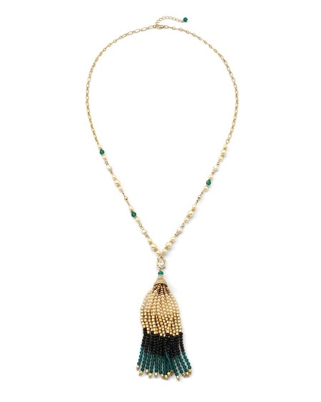 Green Colorblock Tassel Necklace