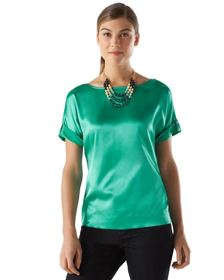 Stretch Silk Boxy Tee