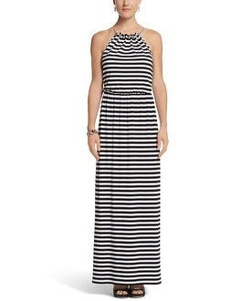 Striped Necklace Maxi Dress