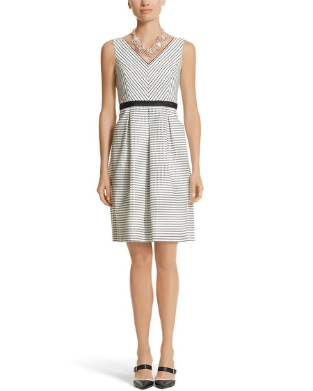 Sleeveless V-Neck Textured Dot Fit & Flare Dress