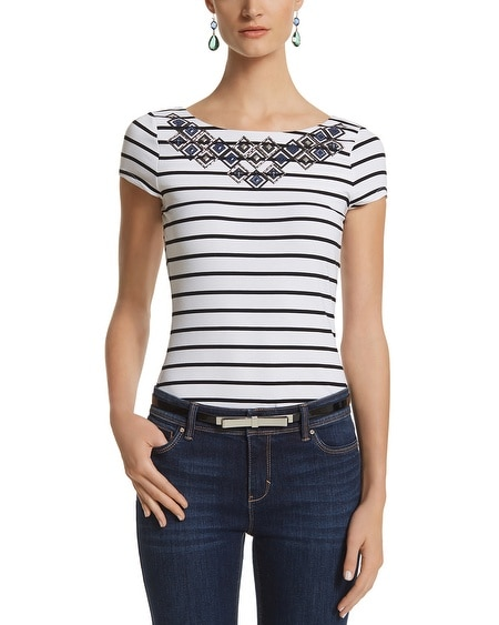 Striped Embellished Tee
