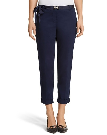 Navy Slim Chino Crop Pant