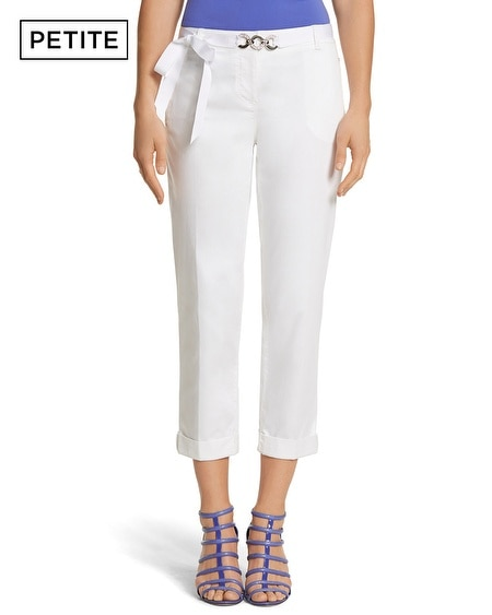 Petite White Slim Chino Crop