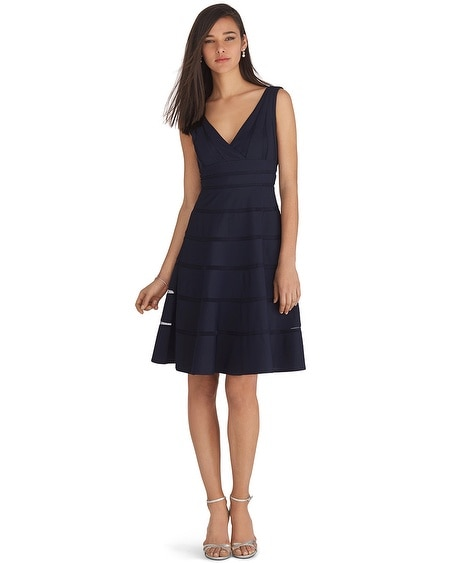 Navy Shadow Stripe Dress