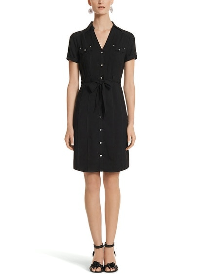 Cap Sleeve Woven Shirt Dress