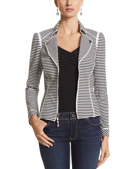Stripe Knit Moto Jacket