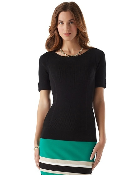 Elbow Sleeve Ribbed Sweater
