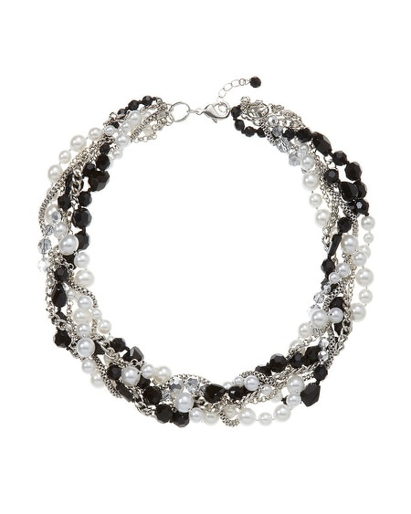 Black/White Faux  Pearl Torsade Necklace