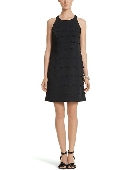 Scalloped Tiered Sculpted Shift Dress