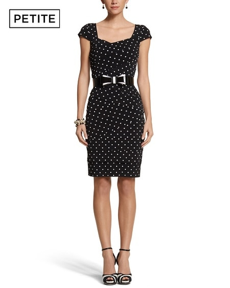 Petite Instantly Slimming Dot Tiered Dress