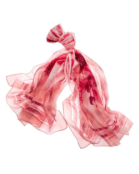 Silk Floral Watercolor Oblong Scarf