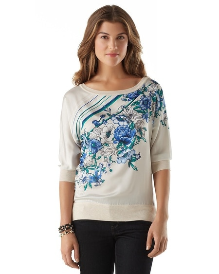 Floral Woven Front Sweater