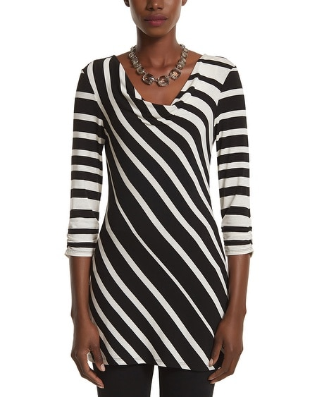 Bias Stripe Drapeneck Tunic