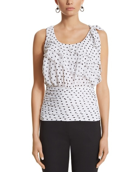 Sleeveless Ruffle Dot Blouson Top