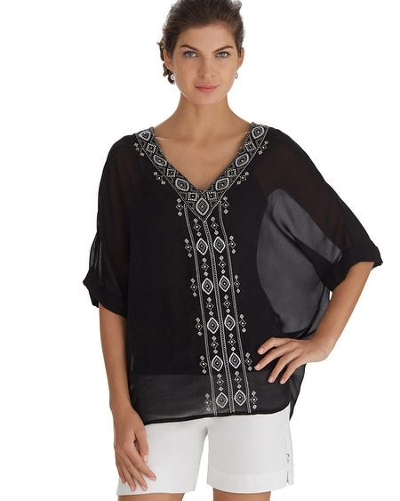 Embroidered V-Neck Caftan
