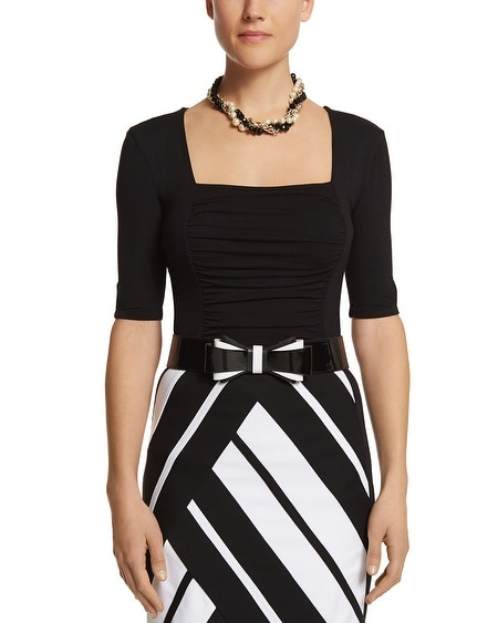 Ruched Square Neck Top