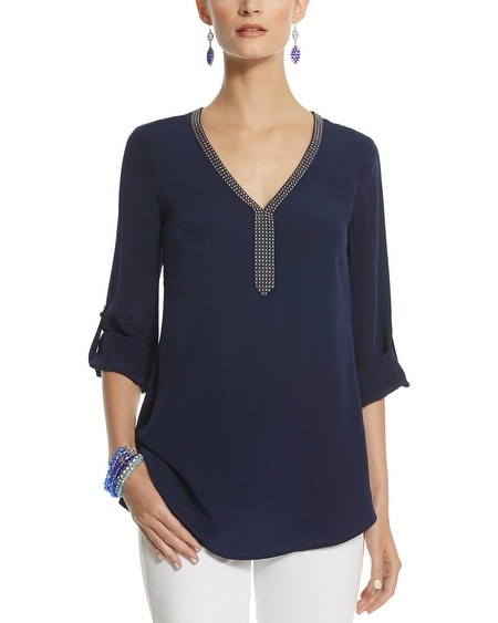 Bead Neck Silk Tunic