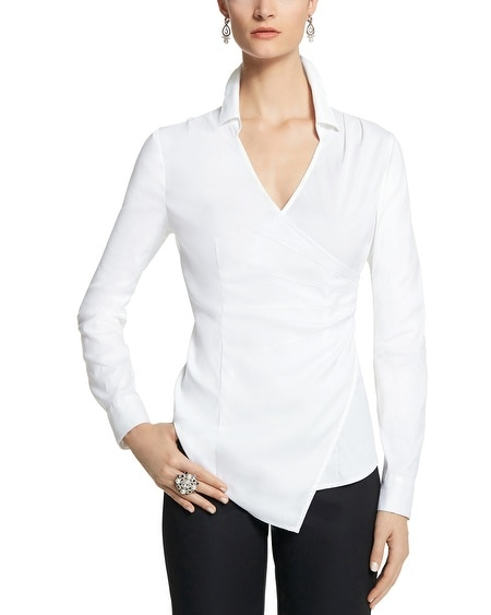 Poplin Faux Wrap Shirt