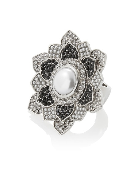Black Crystal Flower Ring